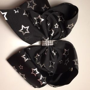Black starry hair bow 6.5 inches with rhinestones